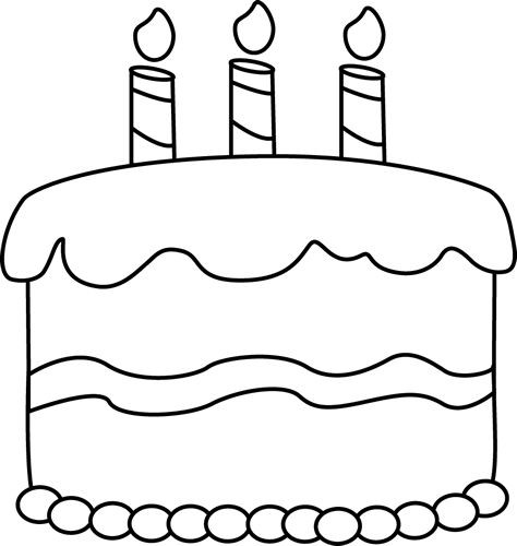 Cake Clipart Black And White  Birthday Candle Clipart Black And White