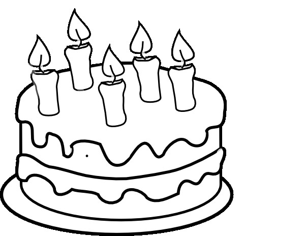 Cake Clipart Black And White  Bday Cake 5 Candles Black And White Clip Art at Clker