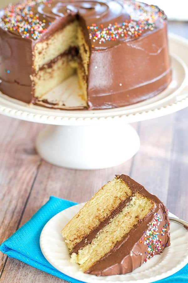 Cake Frosting Recipe  Yellow Cake with Chocolate Frosting