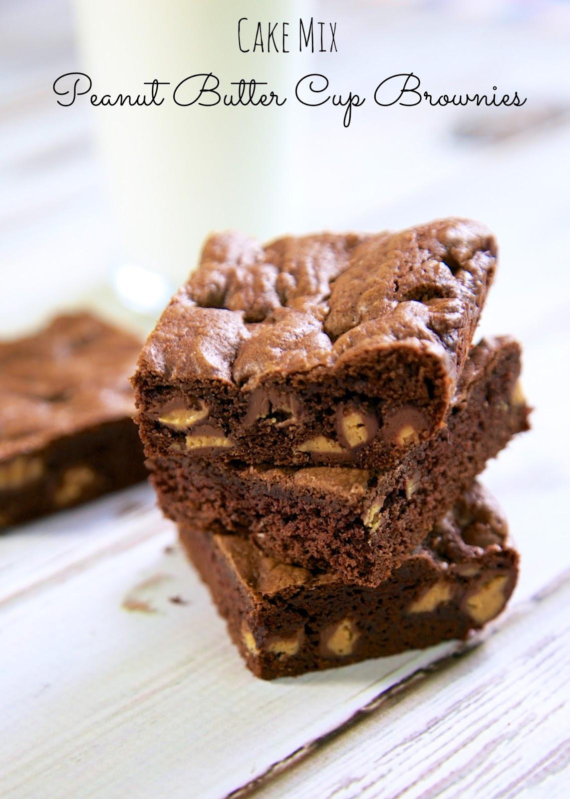 Cake Mix Brownies  Cake Mix Peanut Butter Cup Brownies