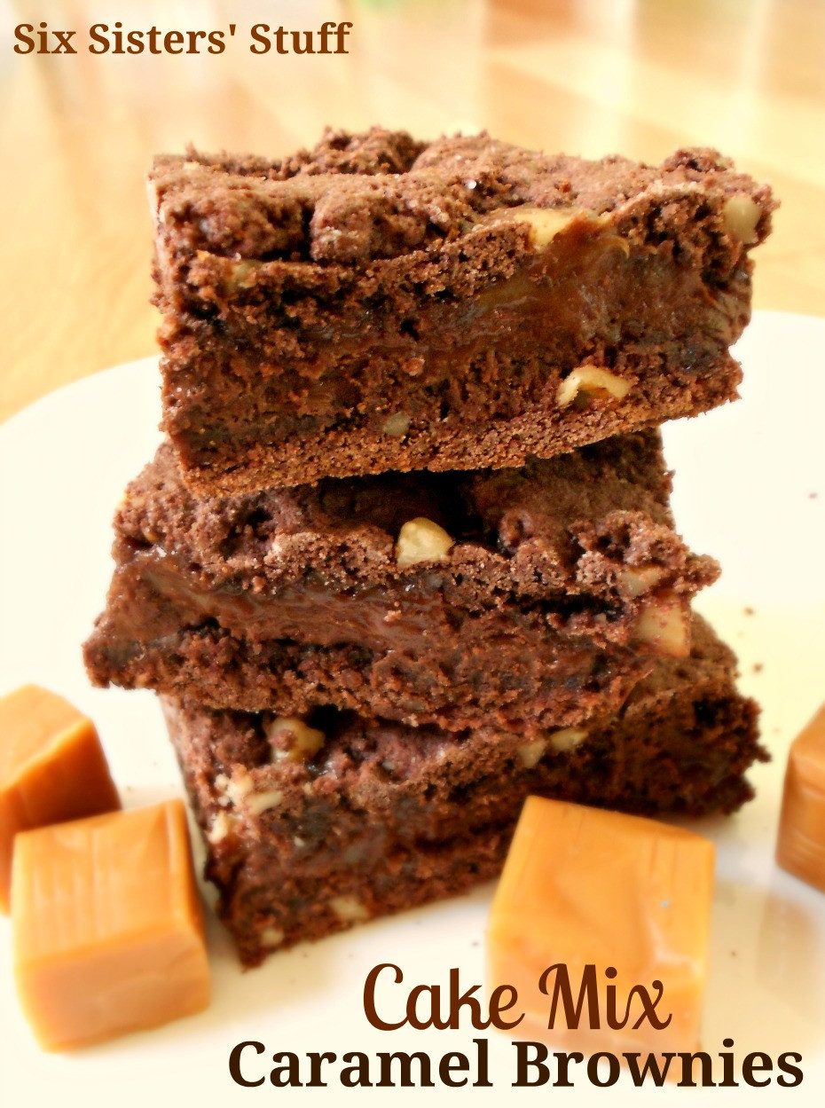 Cake Mix Brownies  Cake Mix Caramel Brownies Recipe Six Sisters Stuff
