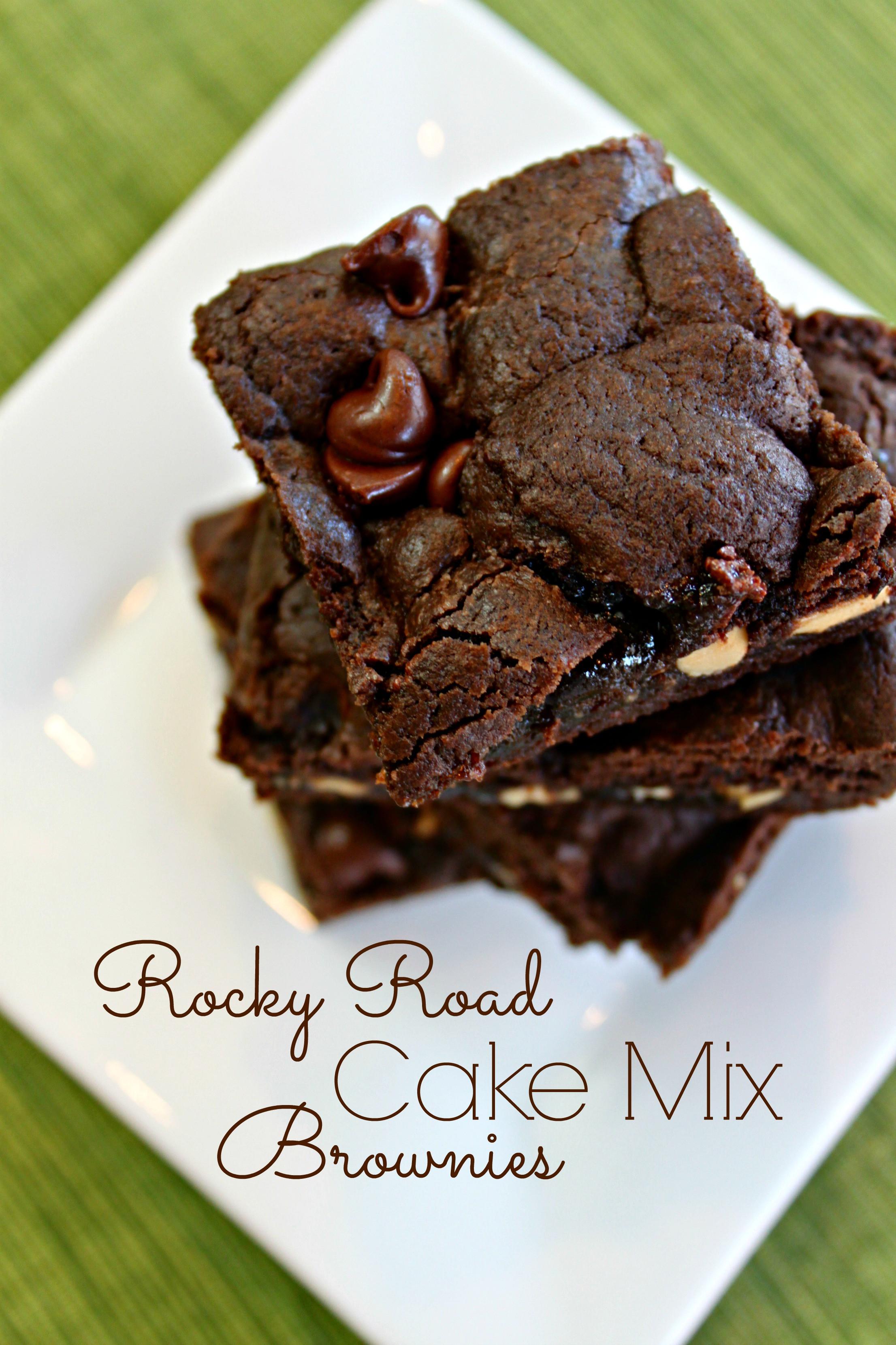 Cake Mix Brownies  rocky road cake mix brownies