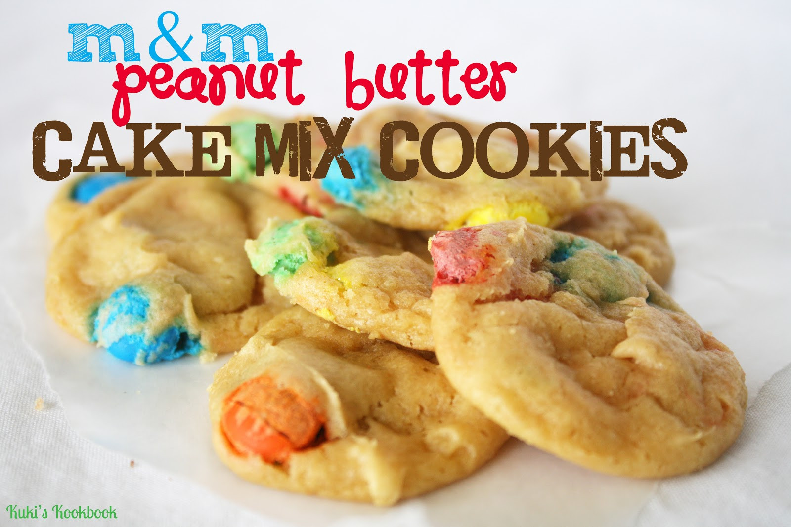 Cake Mix Cookies With Butter  Kuki s Kookbook m&m Peanut Butter Cake Mix Cookies