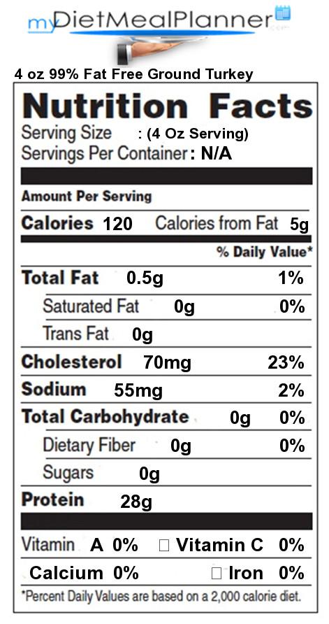 Calories Ground Turkey  Vitamin C in 4 oz Fat Free Ground Turkey Nutrition