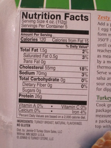 Calories Ground Turkey  Jennie O 93 7 Ground Turkey Nutrition Facts Nutrition Ftempo