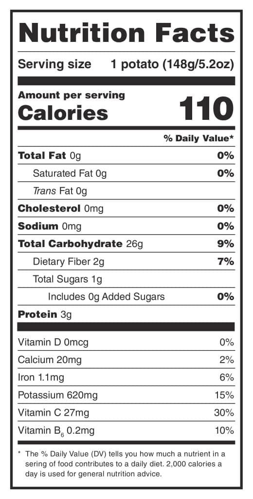 Calories In A Russet Potato  Potato Nutrition Are Potatoes Healthy