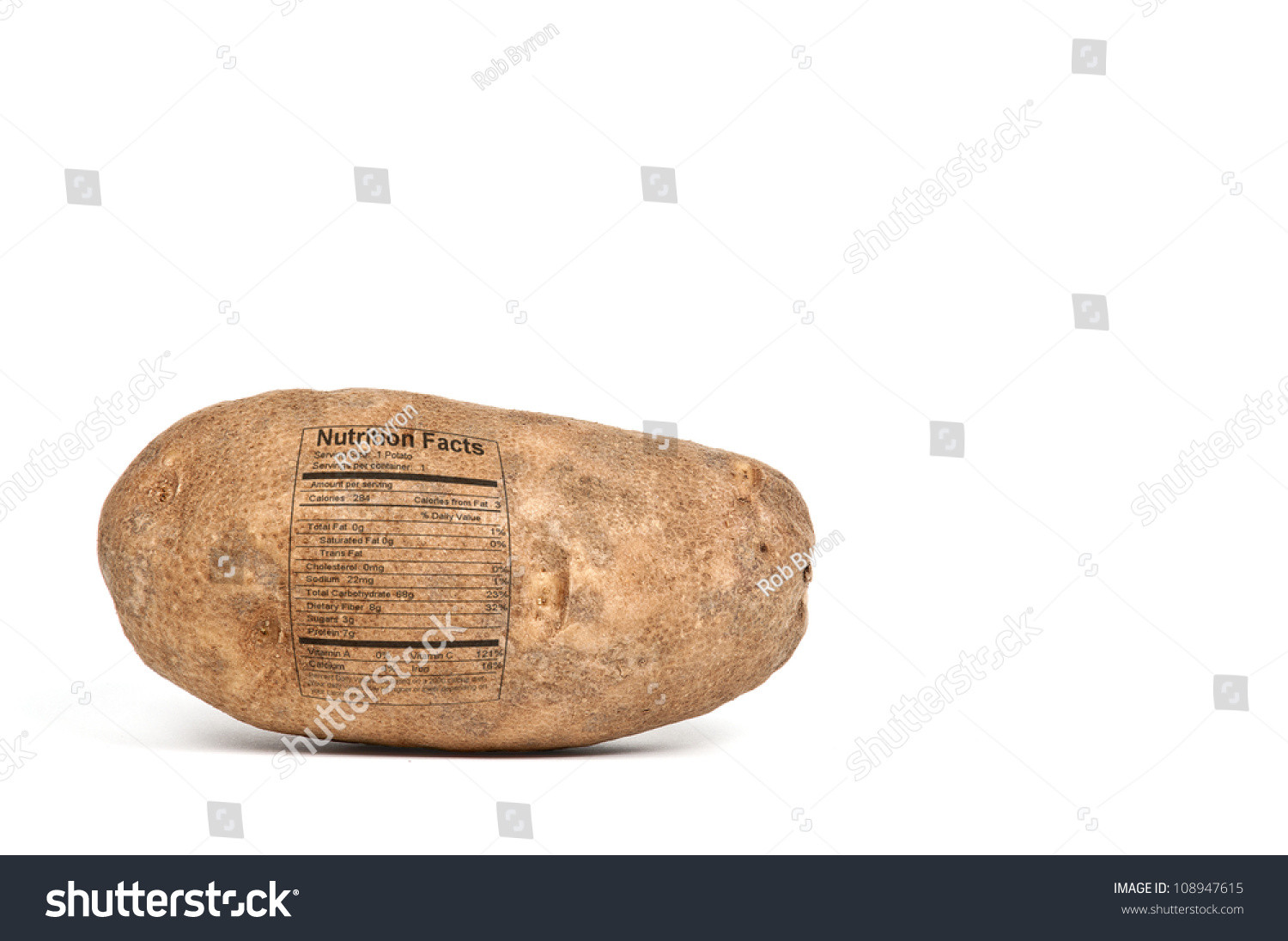 Calories In A Russet Potato  Delicious Russet Potato With A Nutrition Label Ready To Be