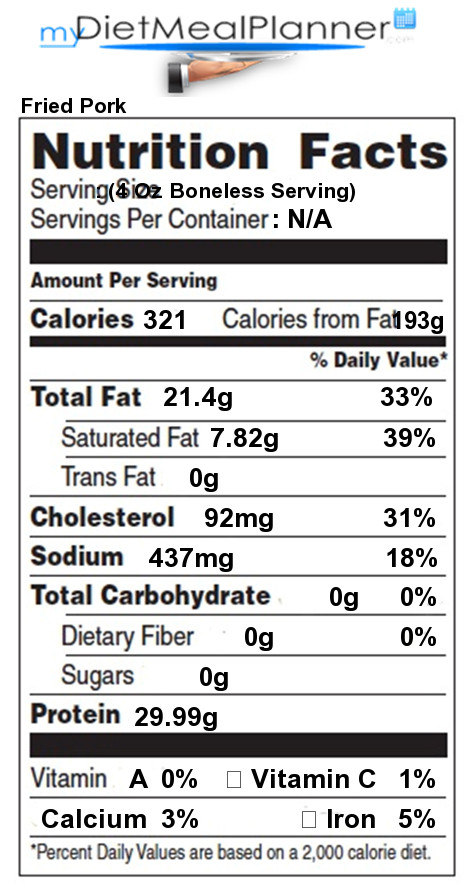 Calories In Fried Chicken  Nutrition facts Label Meat 25 my tmealplanner