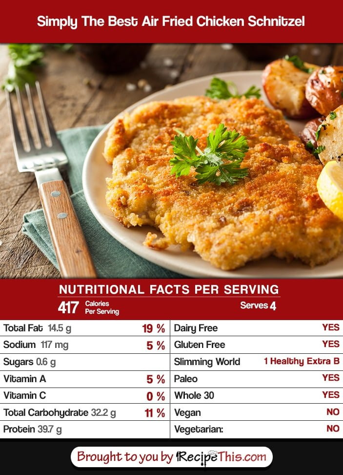 Calories In Fried Chicken  Simply The Best Air Fried Chicken Schnitzel • Recipe This