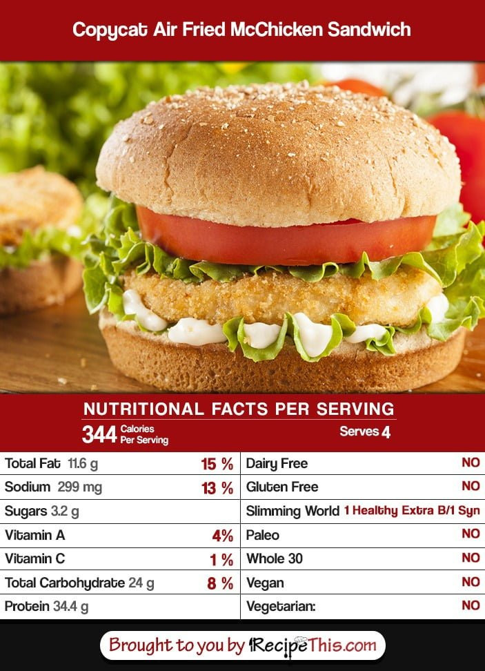 Calories In Fried Chicken  what is the sauce on a mcchicken sandwich