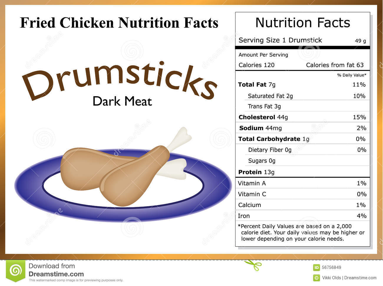 Calories In Fried Chicken  Fried Chicken Nutrition Facts Stock Vector Image
