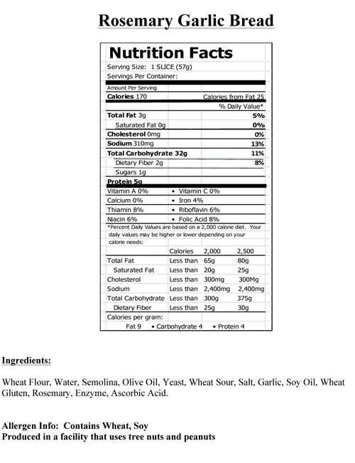 Calories In Garlic Bread  Hy Vee Nutrition Bakery Nutrition Ftempo