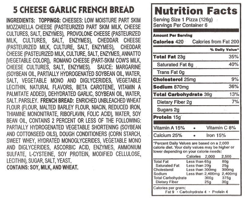 Calories In Garlic Bread  Nutritional Information