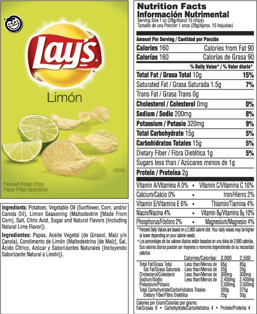 Calories In Potato Chips  Lay S Limon Chips Nutrition Facts – Nutrition Ftempo