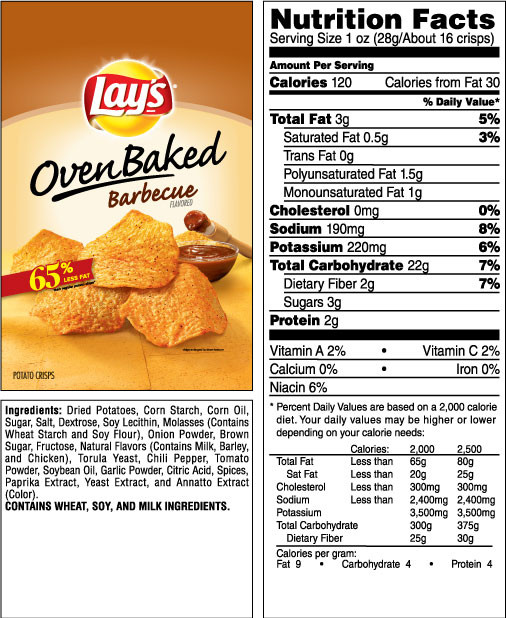 Calories In Potato Chips  Nutritional Value Lays Baked Potato Chips Nutrition