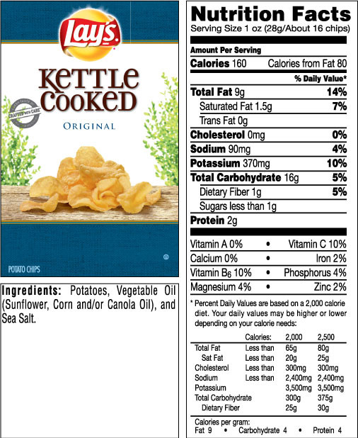 Calories In Potato Chips  The gallery for Lays Potato Chips Nutrition Facts