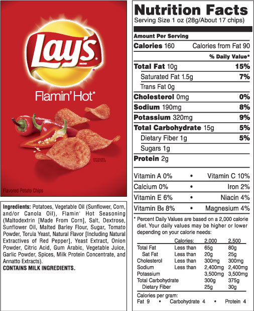 Calories In Potato Chips  LAY S FLAMIN HOT Flavored Potato Chips