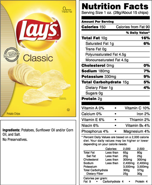 Calories In Potato Chips  Lays Ripple Chips Nutrition Facts Nutrition Ftempo