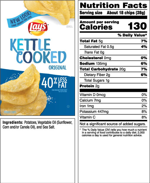 Calories In Potato Chips  LAY S Kettle Cooked Less Fat Original Potato Chips