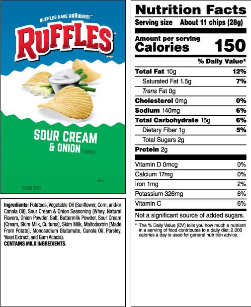 Calories In Potato Chips  RUFFLES Sour Cream & ion Flavored Potato Chips