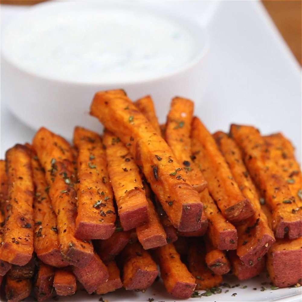 Calories In Sweet Potato Fries  Sweet Potato Fries With Yogurt Chive Dip Recipe by Tasty