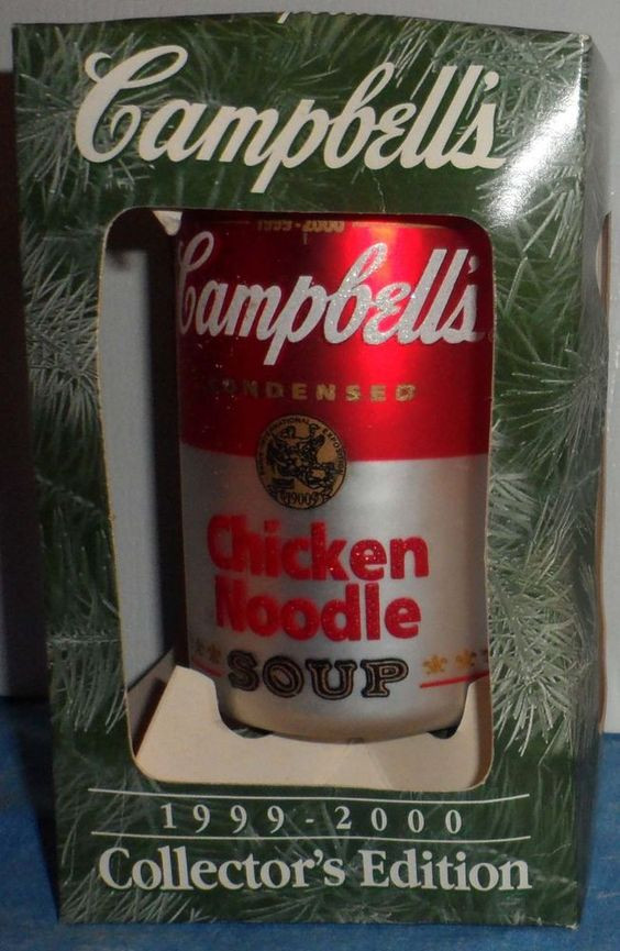 Campbell'S Chicken Noodle Soup  Glass christmas ornaments Chicken noodle soups and Blown