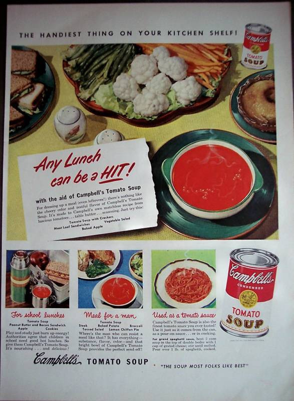 Campbell'S Tomato Soup Ingredients  1950 Campbell s Tomato Soup recipe for sauce vintage ad