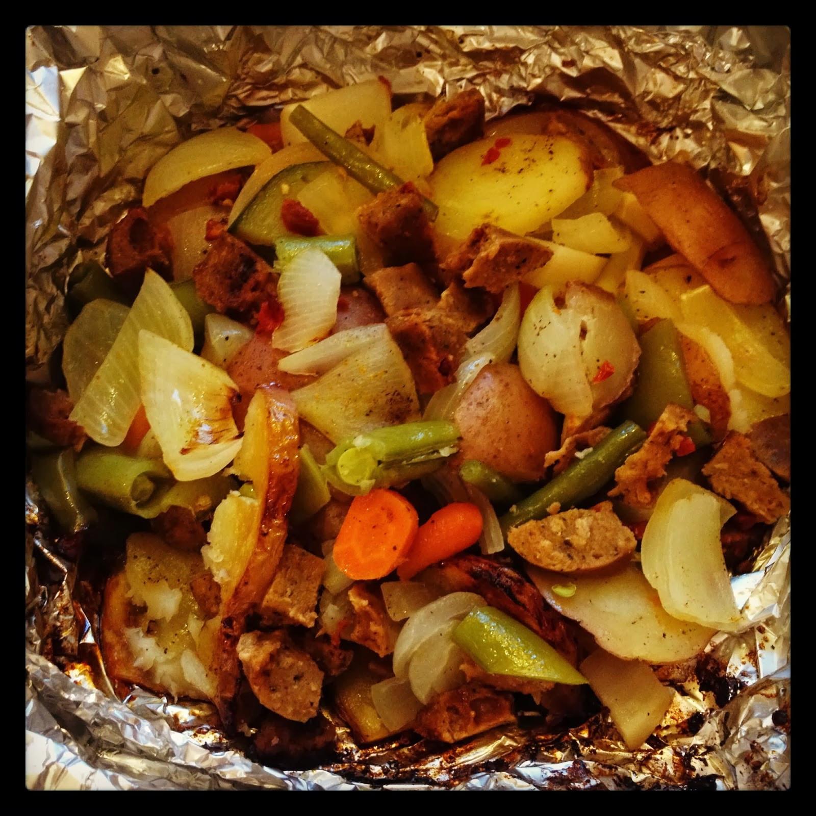 Campfire Dinner Recipes  East Meets West Veg Campfire Dinner Ve arian Foil Packets