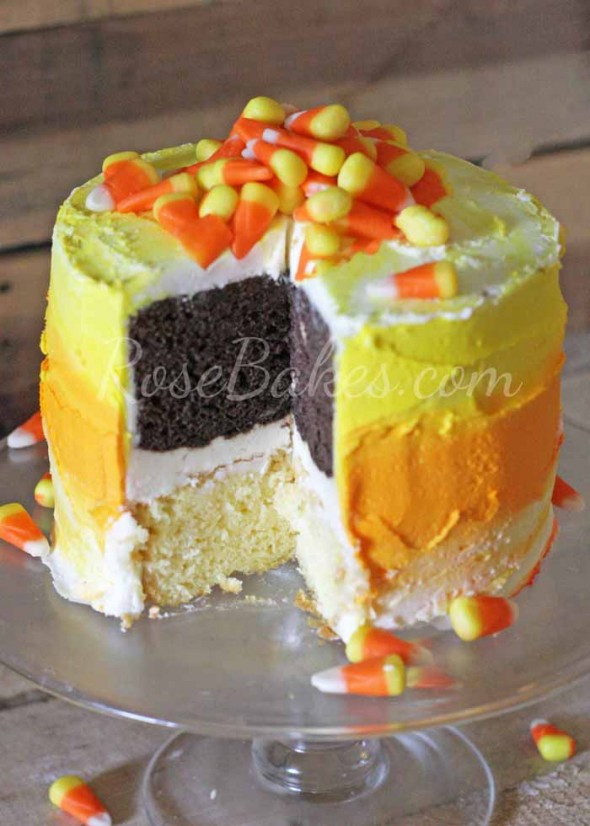 Candy Corn Cake  How to Make an Easy Ombre Candy Corn Cake Rose Bakes