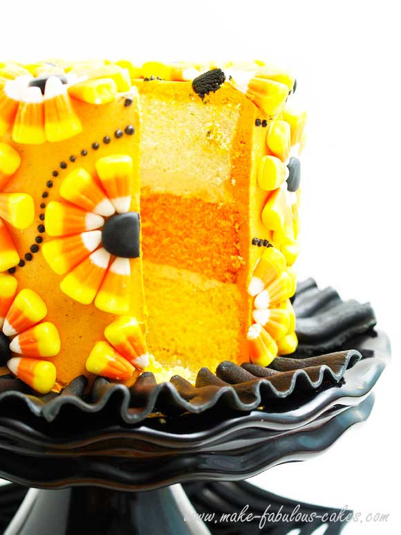 Candy Corn Cake  Halloween Cake Decorating a Candy Corn Cake