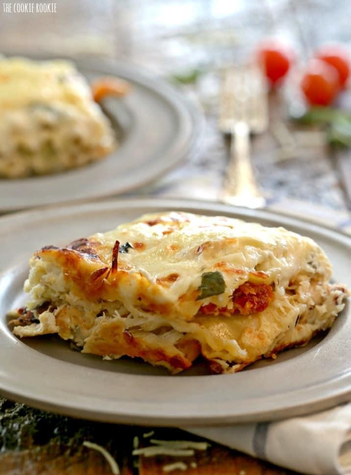 Caprese Chicken Lasagna  Creamy White Chicken Caprese Lasagna