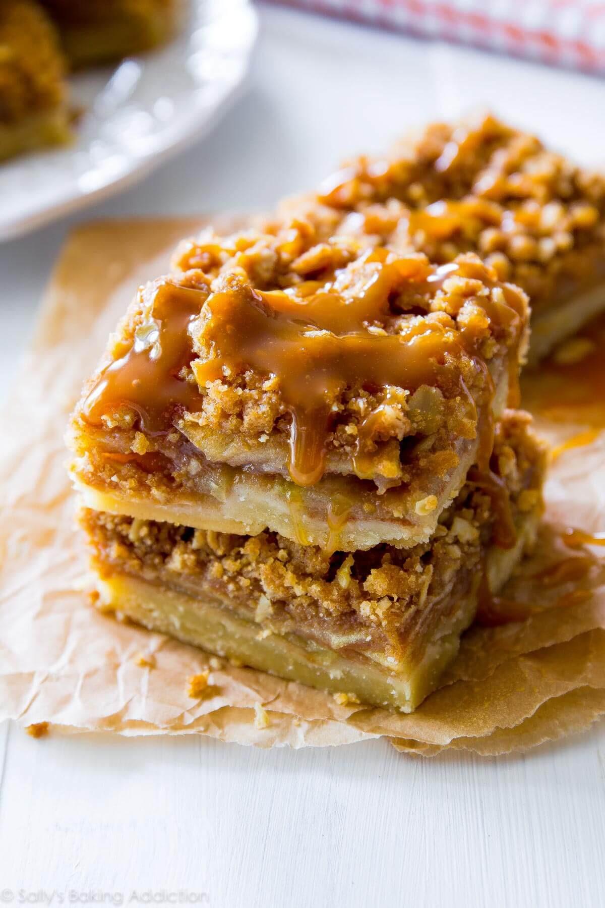 Caramel Apple Dessert  Salted Caramel Apple Pie Bars Sallys Baking Addiction