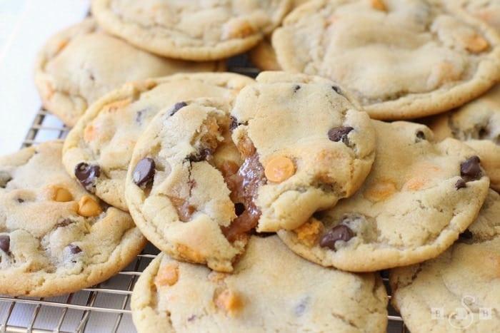 Caramel Chocolate Chip Cookies  CARAMEL STUFFED CHOCOLATE CHIP COOKIES Butter with a