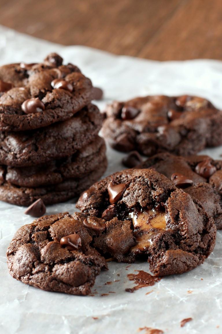 Caramel Chocolate Chip Cookies  Caramel Stuffed Double Chocolate Chip Cookies Chocolate