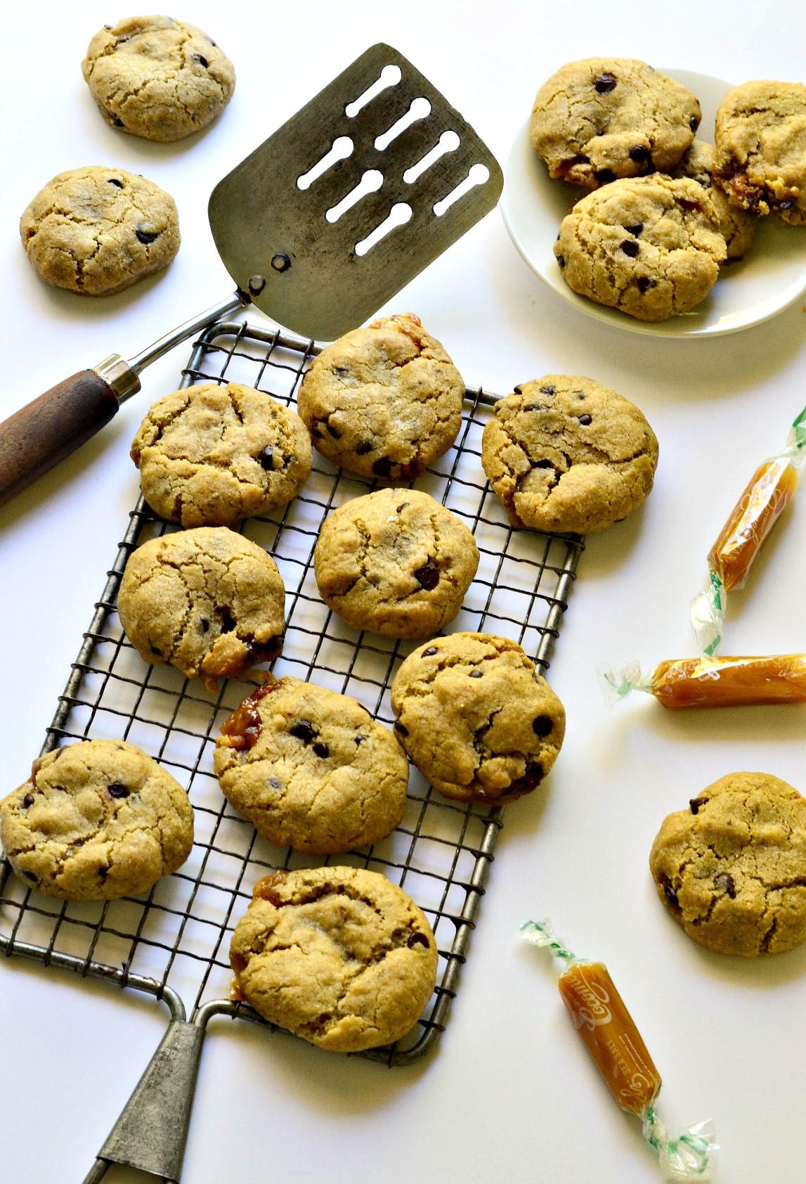 Caramel Chocolate Chip Cookies  Salted Caramel Chocolate Chip Cookies Fork and Beans