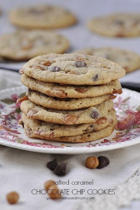 Caramel Chocolate Chip Cookies  Salted Caramel Chocolate Chip Cookies your homebased mom