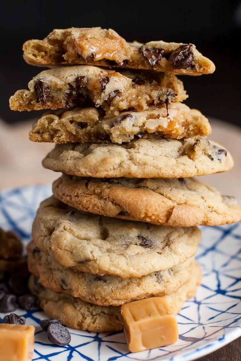 Caramel Chocolate Chip Cookies  Caramel Stuffed Chocolate Chip Cookies Recipe