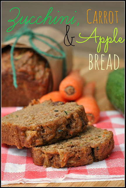 Carrot Apple Zucchini Bread  Zucchini Carrot and Apple Bread with Pecans and