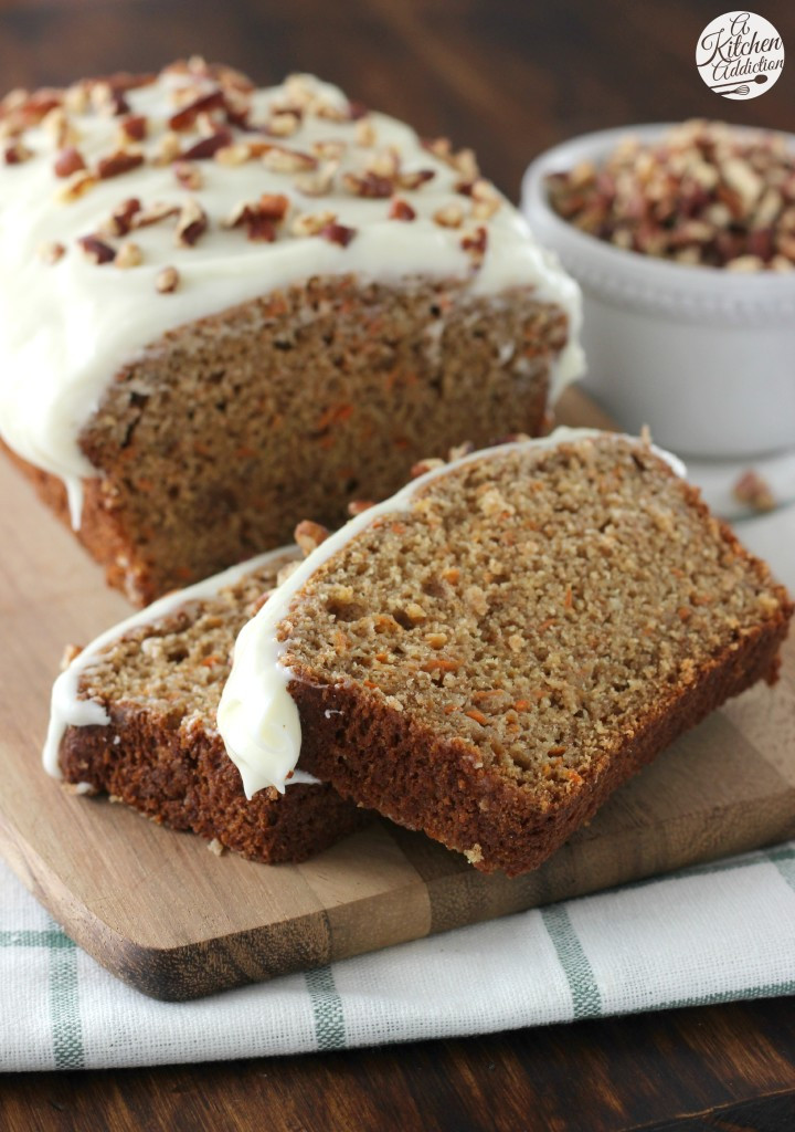 Carrot Cake Bread  Carrot Cake Quick Bread with Cream Cheese Frosting A