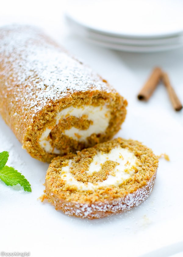 Carrot Cake Roll  Carrot Cake Roll With Cream Cheese Filling