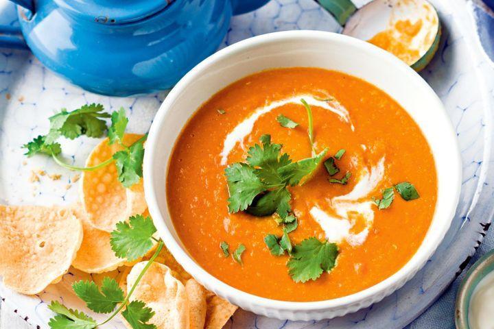 Carrot Coconut Soup  Carrot lentil and coconut soup