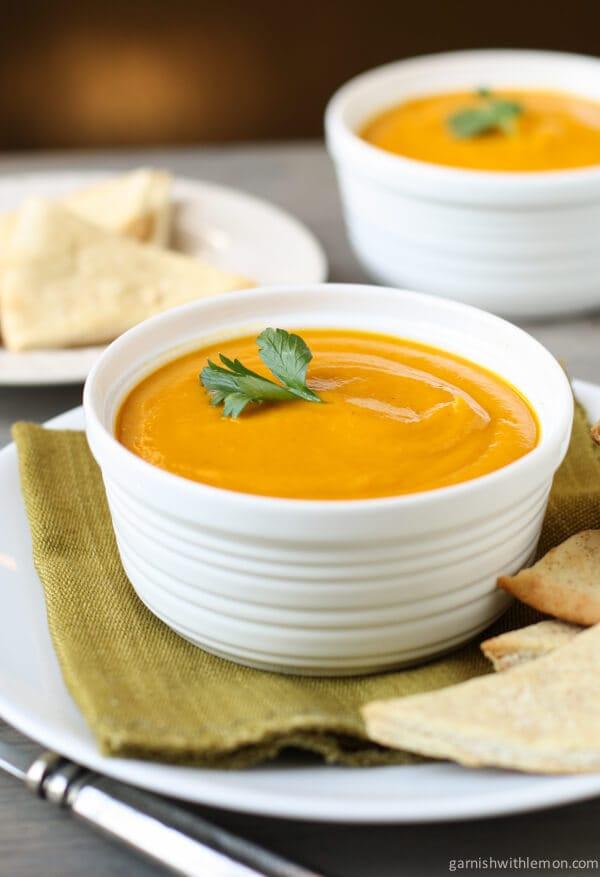 Carrot Ginger Soup Recipe  Carrot Ginger Soup Garnish with Lemon