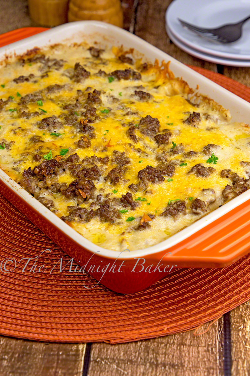 Casserole With Ground Beef  Cheesy Beef & Potatoes Casserole The Midnight Baker
