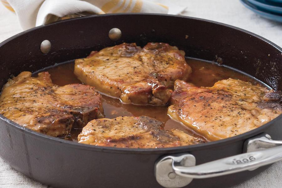 Cast Iron Skillet Boneless Pork Chops  Pork Chops with Pepper Jelly Sauce Cast Iron Skillet