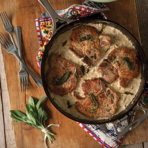 Cast Iron Skillet Boneless Pork Chops  Skillet Pork Chops with Brown Butter Gravy and Sage