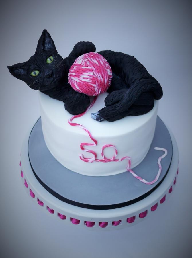 Cat Birthday Cake  black cat 50th birthday cake cake by The sugar cloud