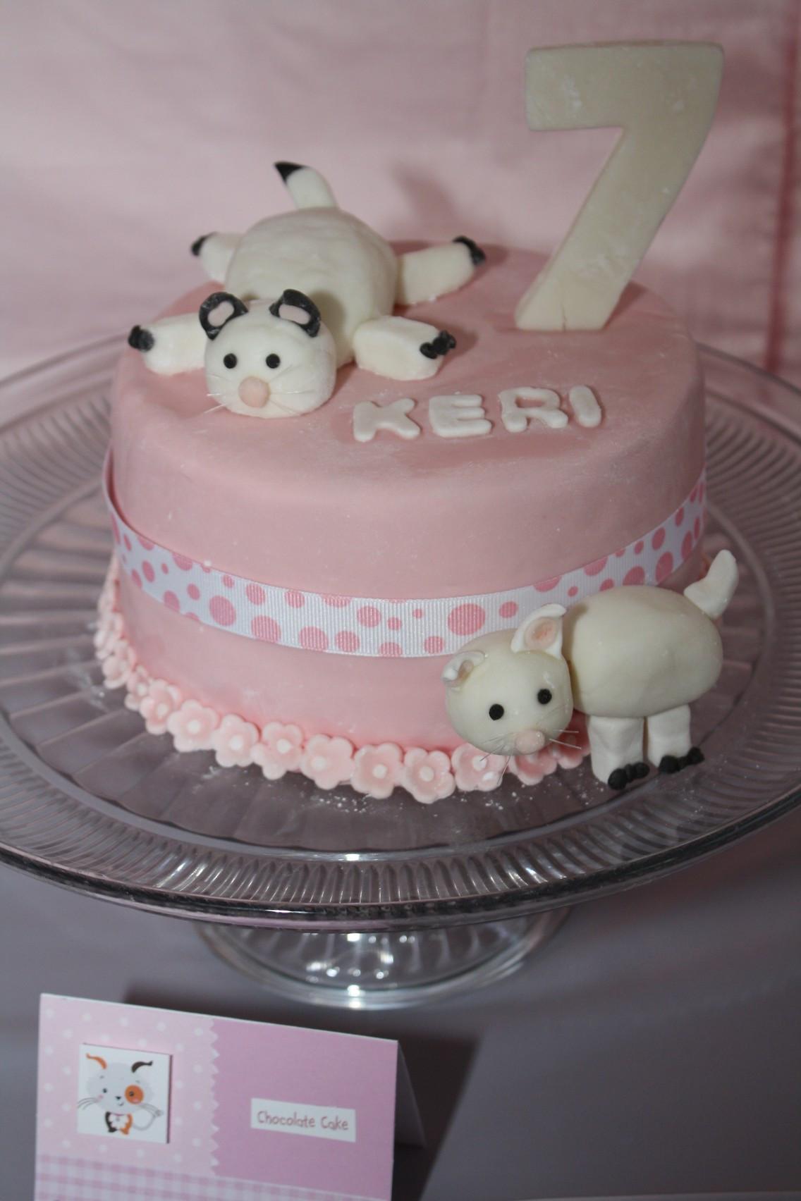 Cat Birthday Cake  fondant cat