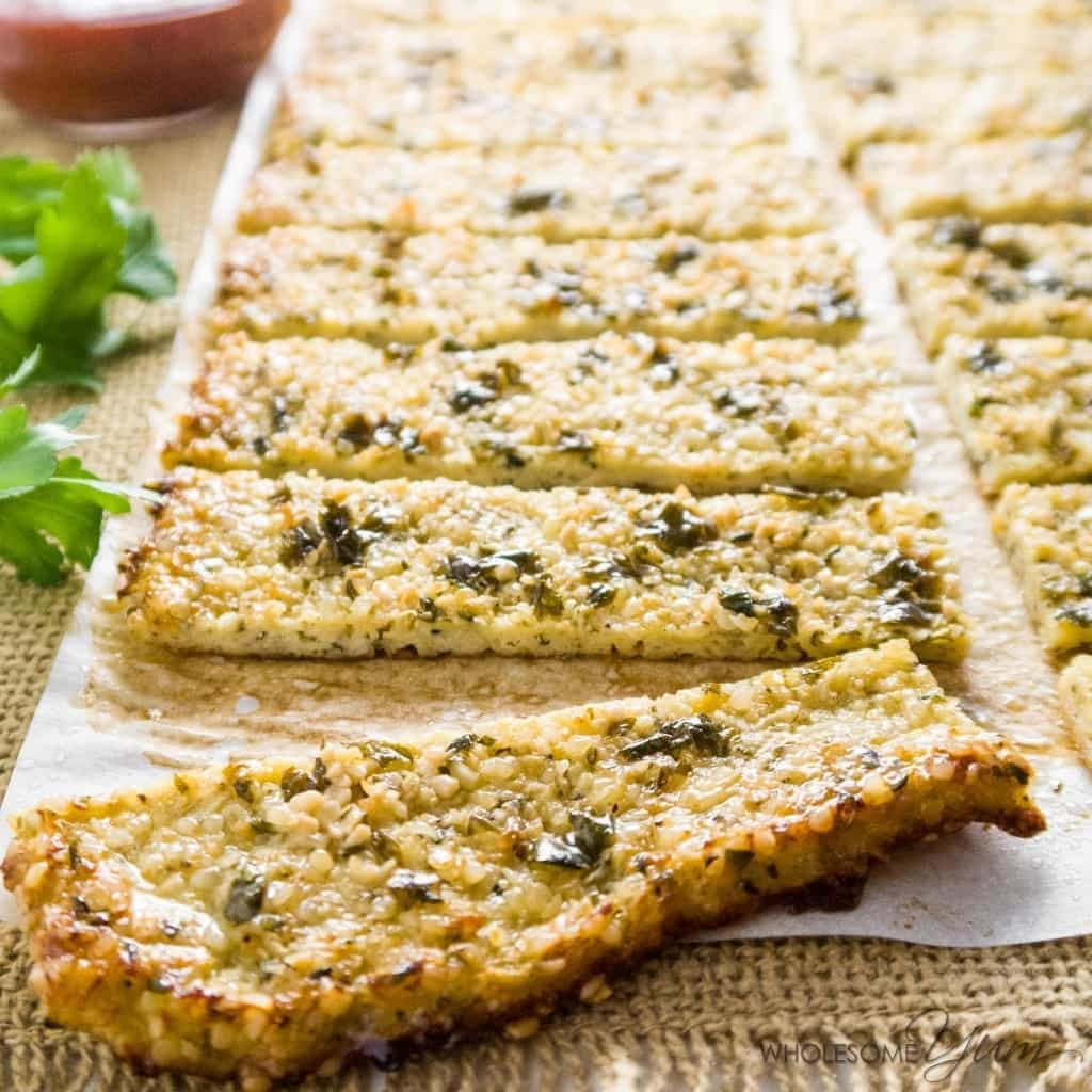 Cauliflower Bread Recipe  Low Carb Cauliflower Breadsticks with Garlic Butter Paleo