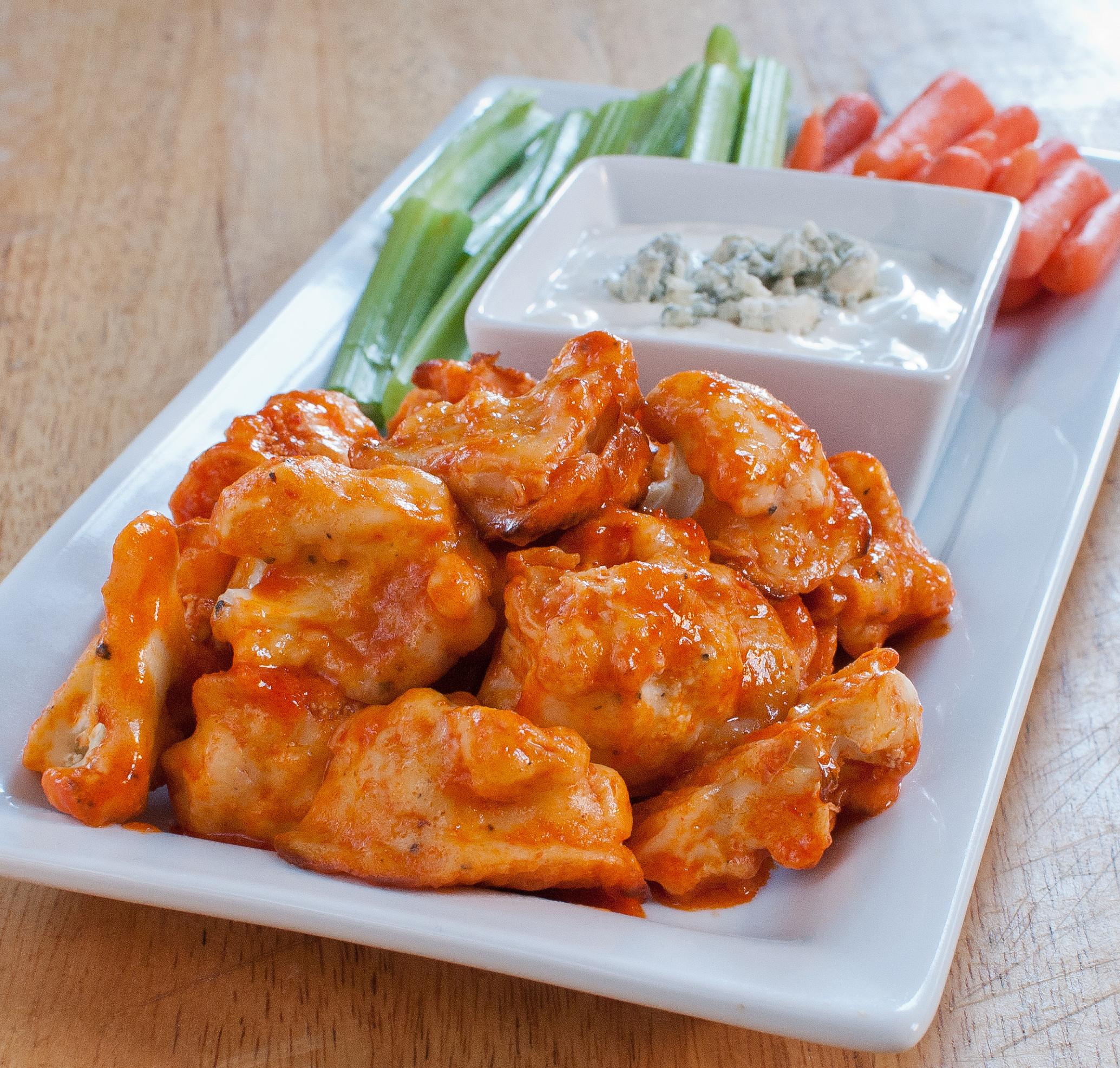 """Cauliflower Chicken Wings  Cauliflower Buffalo """"Wings"""" Baked In"""