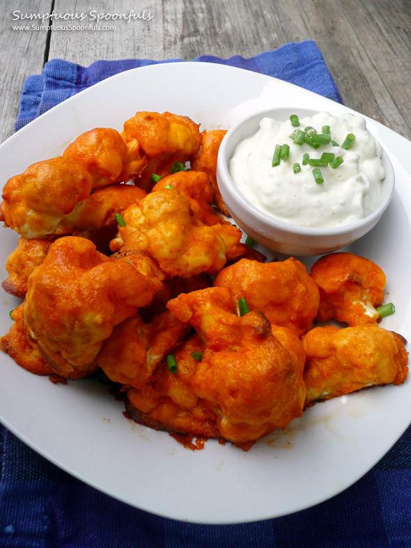 "Cauliflower Chicken Wings  Buffalo Cauliflower ""Wings"" w Blue Cheese Dip"